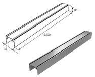 80041/M Алюминиевый верхний и нижний профиль металлик L=6200mm