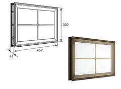 """Окно акриловое 452х302 коричн. с раскладкой крест для панелей со структурой """"филенка"""" DH85628"""