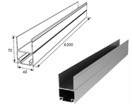 Профиль алюм. нижний несущий металлик DHSW-00060/M L=6200mm