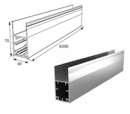 Профиль алюм. нижний несущий усиленный металлик DHSW-00100/M L=6200mm