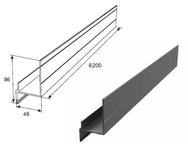 Профиль Ц-образный неравнополочный для калитки с низким порогом металлик DHSW-00290/M L=6200mm
