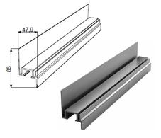 Профиль Ц-обр. неравнополочный для калитки с низким порогом с шиной металлик DHSW-00330/M L=6200mm