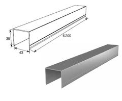 АЛЮМИНИЕВЫЙ ПРОФИЛЬ П-ОБРАЗНЫЙ УСИЛЕННЫЙ металлик DHSW-20080/M L=6200mm