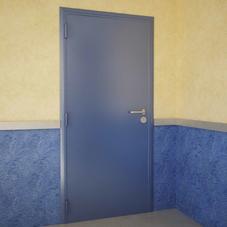 Дверь DoorHan/980/2050/противопожарная/гладкая/гладкая/7035/левая/с угл.рамой