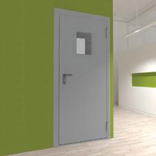 Дверь DoorHan/780/2050/противопожарная/EI60/одноств./остекл./глад/глад/7035/левая/с угл. рамой
