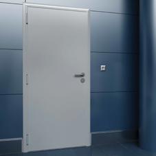 Дверь DoorHan/1080/2050/технич/одностворчатая/глухая/глад/глад/RAL7035/лев../с угл.рамой/