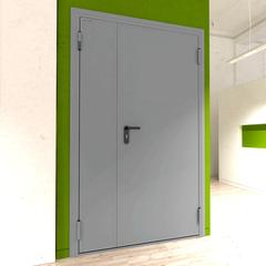 Дверь DoorHan/1150/2050/техническая/двухств/глухая/глад/глад/7035/левая/с угл. рамой