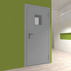 Дверь DoorHan/1080/2050/технич/одностворчатая/остекл./глад/глад/RAL7035/лев./с угл.рамой