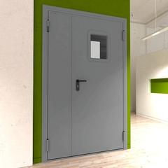 Дверь DoorHan/1150/2050/техническая/двухств/остекл./глад/глад/7035/левая/с угл. рамой