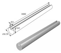 """25076/M Вал полнотелый с пазом под шпонку, ОЦ, 1,25"""" L=6000mm"""